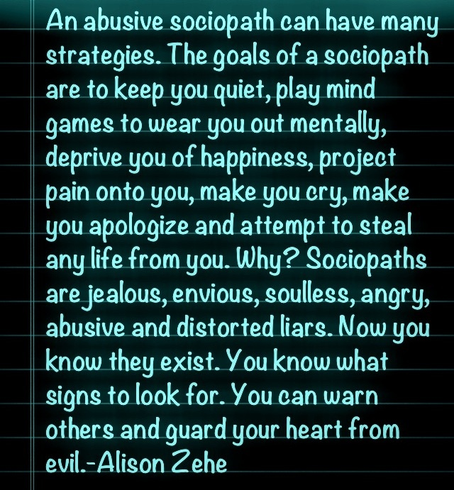 Goals Of A Sociopath: This is what M.G. Schultz did to me. But I survived him by loving myself, forgiving, releasing, and being honest with self and others about the abuse and moving on.    This is just to warn others and to encourage you, you can make it if one of these moral monsters has attacked you.