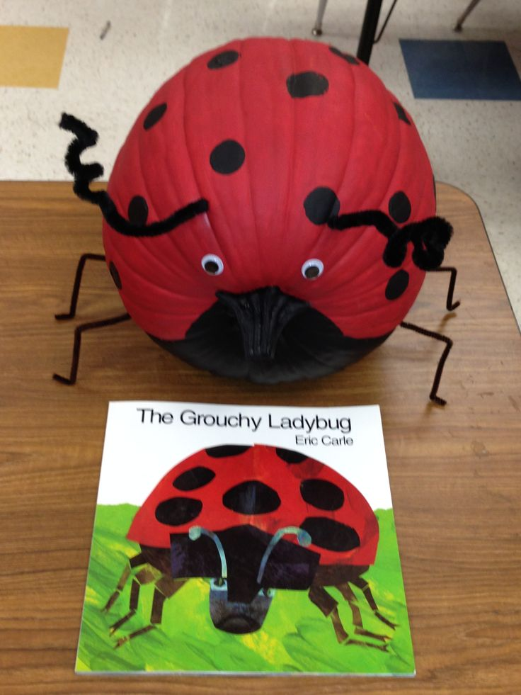 The Grouchy Ladybug Character Pumpkin Super easy...my first graders did it all but poke the pipe cleaner into the pumpkin. They are super excited and it was all their idea! They shared how they learned to be respectful, caring and kind! Turn pumpkin on its side, paint the entire thing red, paint the bottom 1/4 black including the stem, use a round sponge to add black spots to top, add google eyes, and add black pipe cleaners for antennae and legs