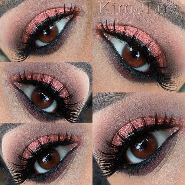 "#Motd  Eyes: @colouredraine ""Pom-Tini""   Lower Lash line:Anastasia Beverly Hills eyeliner in ""Noir""   Crease: A brown I have had from Sephora - @kimjluv- #webstagram"