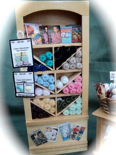 Dolls House Miniatures - Knitting / Wool Shop  Shelf Display. $75.00, via Etsy.