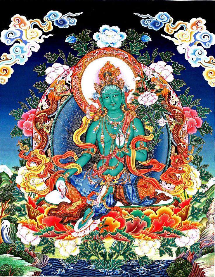 Green Tara 3: Green Tara Newari Thangka Painting