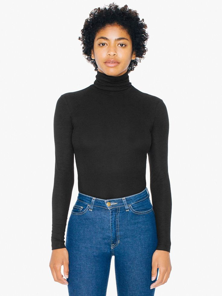 2x2 Rib Turtleneck Top via American Apparel