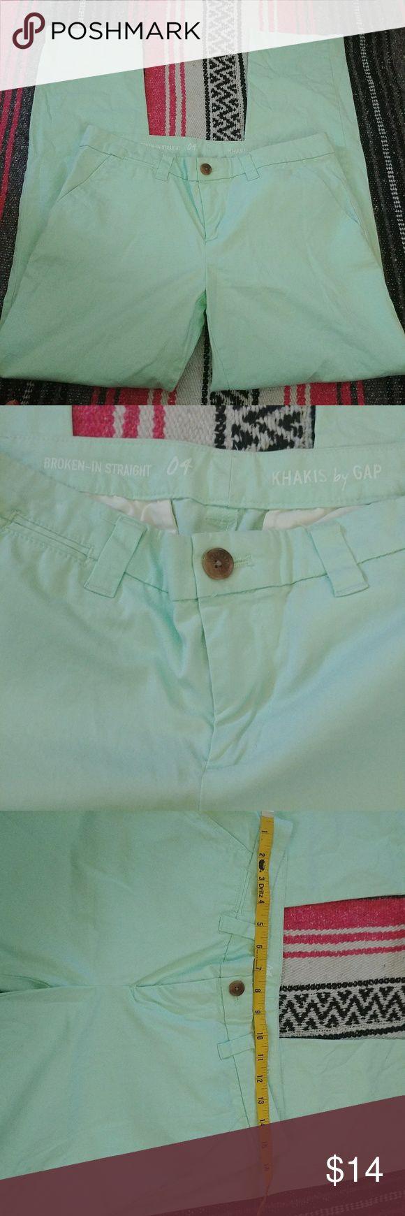 "Gap khaki broken in straight sz 4 mint green jeans 29 1/2 inseam gap broken in straight fit 15 1/2"" waist plea see see photos for details GAP Pants Straight Leg"