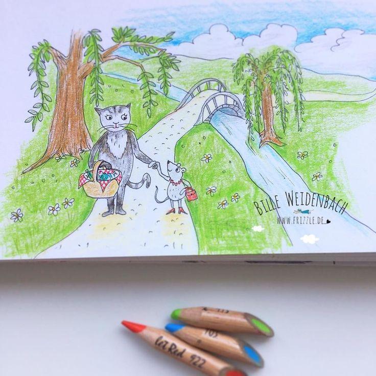 """Thema Nummer 88/365: """"Spaziergang im Park"""" - Beste Freunde können auch sehr unterschiedlich sein!  Kleines Gekritzel mit kleinen Kritzelstummeln. . . . #illustrationwork #portfolio #illustree #illustrate #365doodlesmitjohanna @byjohannafritz #illustrator #illustratorsofinstagram #instaart #kidlitart #sketchbook #sketch #drawing #zeichnung #skizze #freundschaft #friendship #strollinginthepark #spaziergangimpark #bestfriends #katze #maus #cat #mouse"""