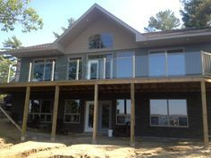 Topless Glass railing installation Point Au Baril Ontario- absolutely stunning!!