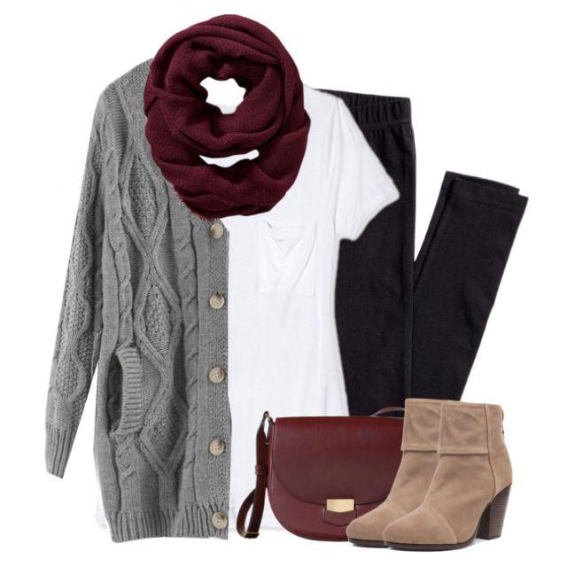 Gray cardigan, burgundy scarf with leggings