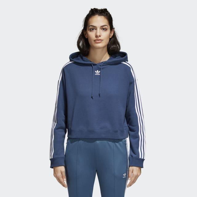 Women adidas Cropped Hoodie (Mineral Blue), Women Hoodies