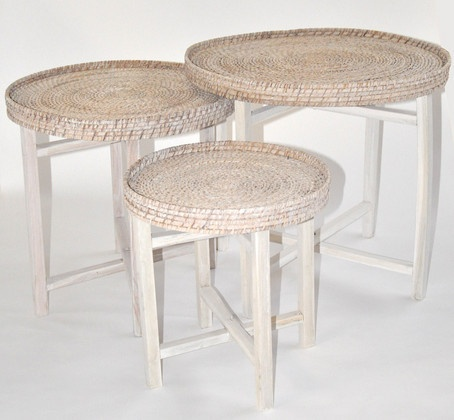 Rattan Tray Tables In Whitewash SoundslikeHOME   Make Nest Of Tables With  My Trays
