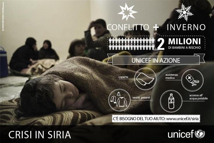 Guerra civile e inverno sono i peggiori nemici per i bambini della Siria. L'UNICEF è in azione per alleviare le sofferenze provocate da gelo, pioggia e neve, in Siria e nei campi profughi allestiti nei paesi confinanti: https://www.unicef.it/doc/4507/profughi-siriani-in-giordania-tra-gelo-e-inondazioni.htm