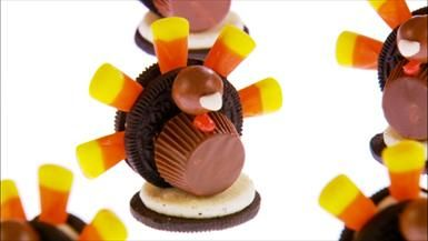 Kid-Friendly Fun: Giada's Thanksgiving Turkeys made with Oreos, PB Cups, Malt Balls and Candy Corn