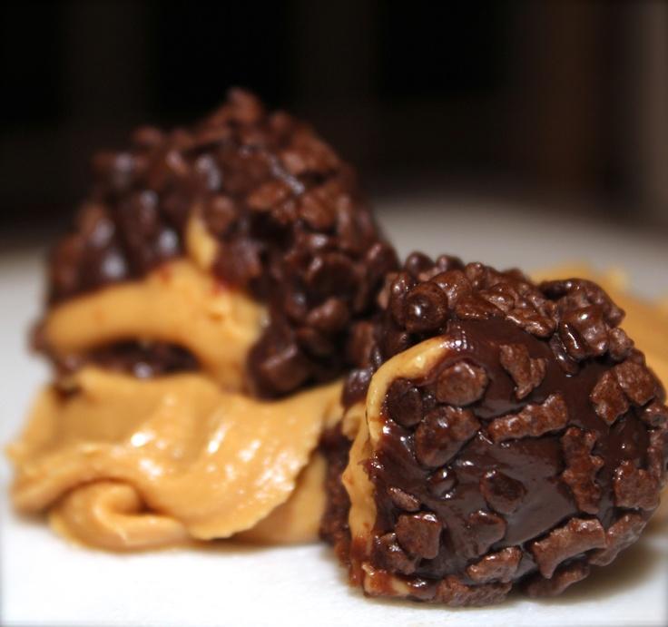 Peanut Butter Brigadeiro - Organic Dark chocolate brigadeiro with PB center.   www.mybrigadeiro.com