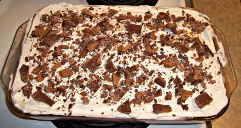 """Step by step instructions on how to make the famous """"skor cake"""". If you like chocolate cake, caramel or butterscotch, chocolate bars and whipped cream. Then you have to try this easy recipe."""