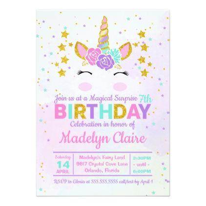 Magical Unicorn Surprise Birthday Party Invitation Various