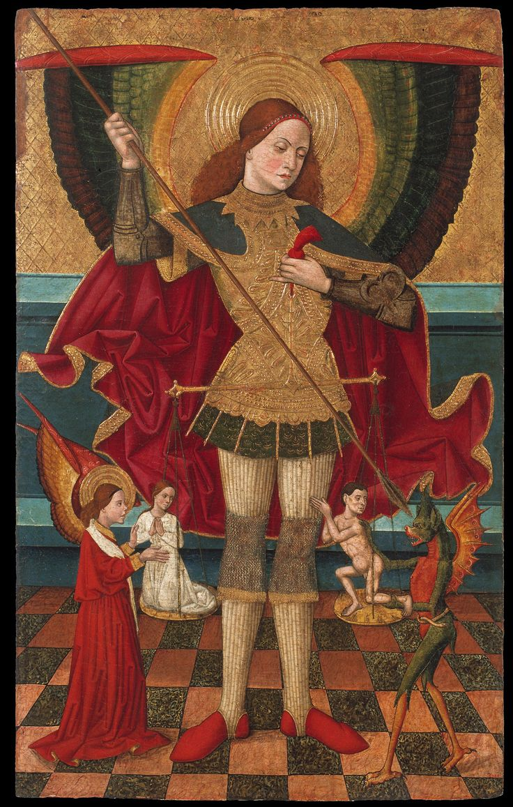 Juan de la Abadia the Elder, Saint Michael Weighing Souls; Museu Nacional d'Art de Catalunya, Barcelona, Spain; c.2480 - 1495.