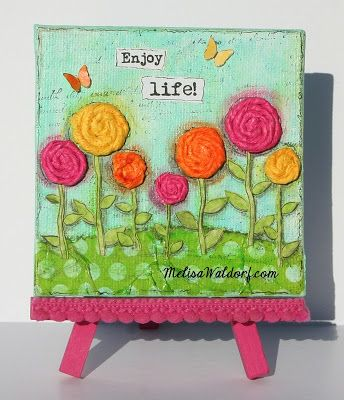 4 x 4 mini canvas.  Background tutorial in this post at Paperlicious Designs.