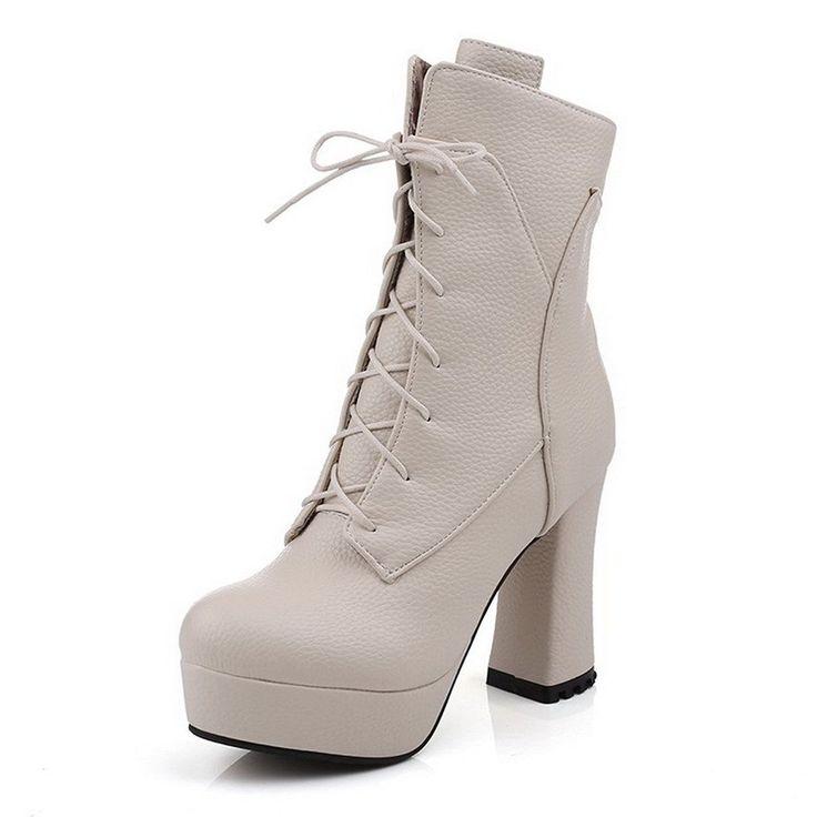 Women's Kitten-Heels Round Closed Toe Artificial Cow Leather Zipper Boots Khaki-Platform 35