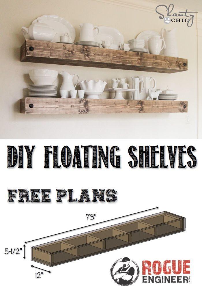 DIY Floating Shelves | Free Plan | Rogue Engineer                                                                                                                                                                                 More