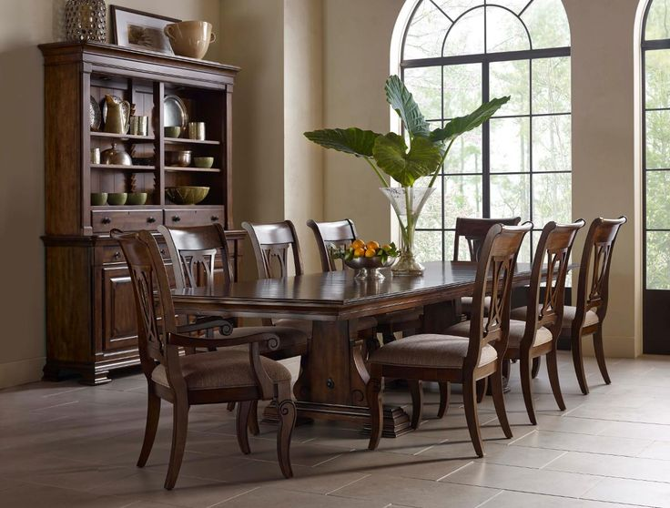 Portolone Collection Nine Piece Trestle Table And Harp Back Chairs Set By Kincaid  Furniture