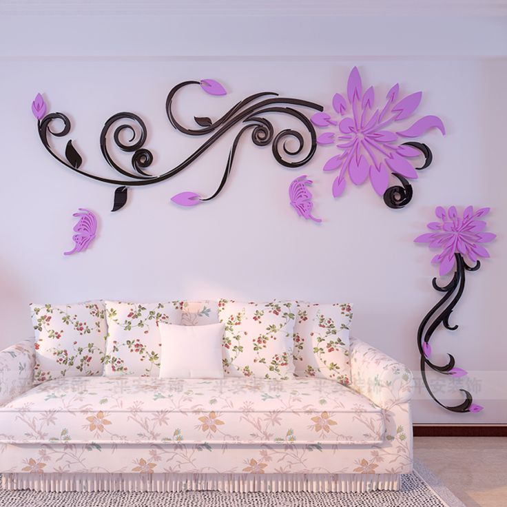 Acrylic crystal flower vine 3D wall stickers living room wall decoration Removable sticker Creative home decor tree butterfly