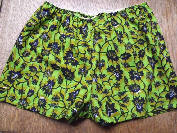Foliage African wax print cotton shorts colourful by BarnesGoodman