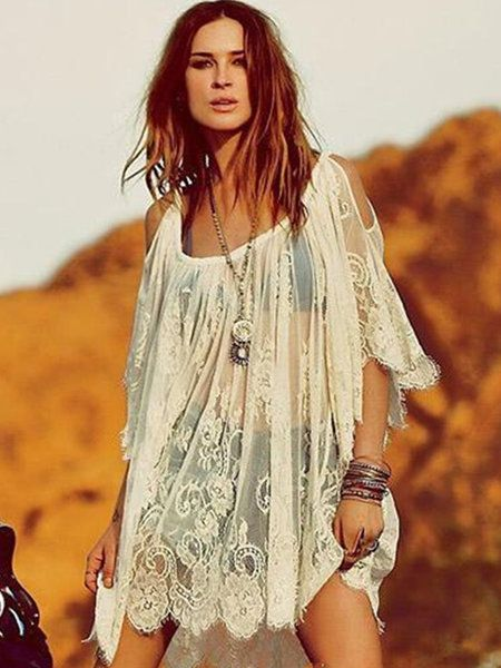 Shop Dresses - Lace Half Sleeve Sexy Shift Cold Shoulder Beach Dress online. Discover unique designers fashion at JustFashionNow.com.