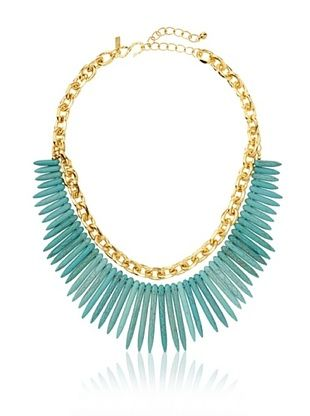 61% OFF Kenneth Jay Lane Golden Faux Turquoise Spike Necklace
