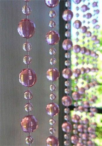 8u0027 Long Beaded Curtain    Antique Rose Mini Balls