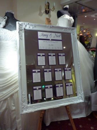 Cadbury Purple Table Plan on Mirror