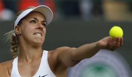 Sabine Lisicki of Germany prepares to serve to Ana Ivanovic of Serbia during their women's singles match at the All England Lawn Tennis Championships in Wimbledon, London, Monday, June 30, 2014. (AP Photo/Ben Curtis) ▼1Jun2014AP|'13 Wimbledon runner-up Lisicki beats Ivanovic http://bigstory.ap.org/article/13-wimbledon-runner-lisicki-beats-ivanovic #The_Championships_Wimbledon_2014 #Sabine_Lisicki