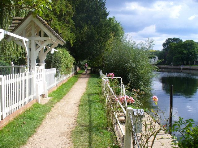 Thames Path at Dorney Reach  Long distance path passing through the foot of gardens in an exclusive Thames-side district.