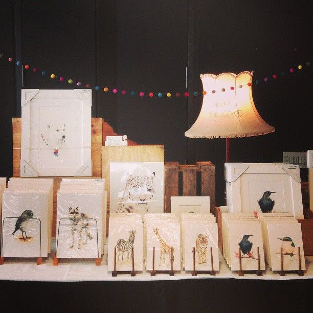 small animal and native bird giclee prints from watercolours. Stall set up for craft fair ella quaint