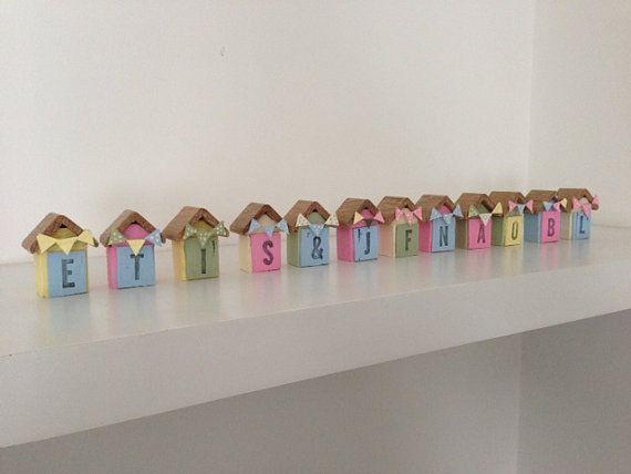 miniature beach huts, wooden beach huts, Hand painted, cute house, wedding topper, Holiday, Beach.