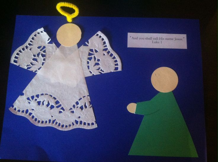 """""""And you shall call His name Jesus"""" - simple craft for Mary's visit from the angel Gabriel. Cut doily and paper triangles and circles, poke the pipe cleaner halo through the paper, and the kids can add faces and hair if they choose!"""