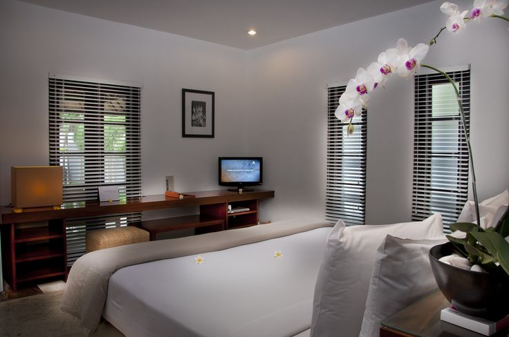 The master bedroom is furnished with a king size bed and the second bedroom, a double bed