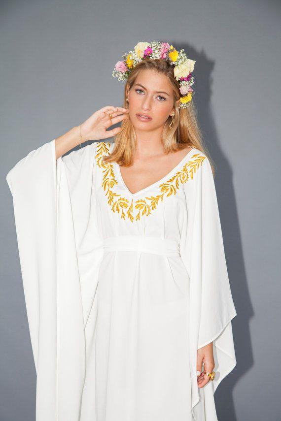 Midi de robe Ivoire Ivoire caftan robe jaune taille de broderie et un caftan robe de mariée Caftan Ivoire étonnant, très flatteur pour femmes de taille