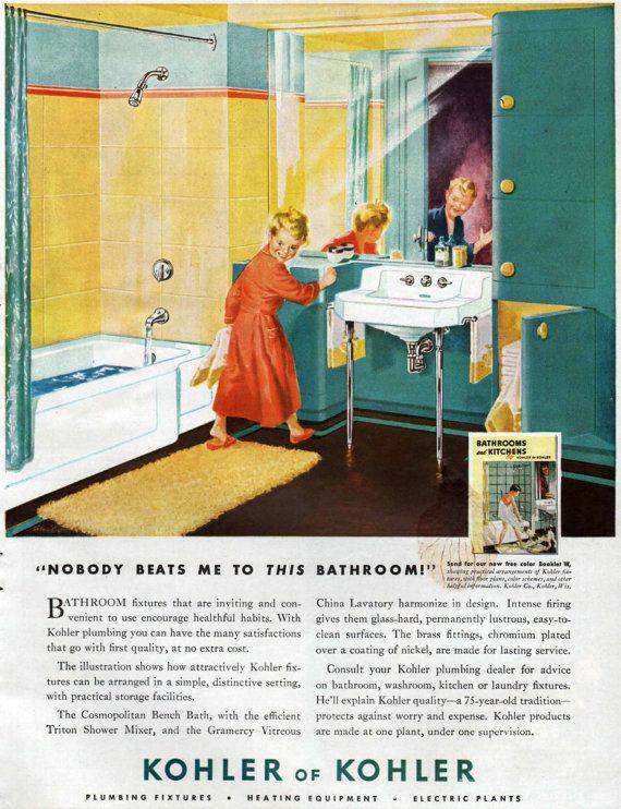 1948 kohler bathroom fixtures ad children 1940 39 s home for Bathroom accessories ads