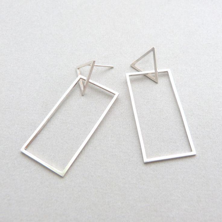 Triangle/rectangle earrings in silver // Minimal luxe handmade jewellery by Elin Horgan