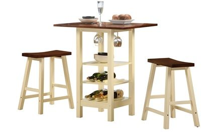 My future breakfast nook table for sure.  Keep the party at your fingertips with this bistro table set that features accessible storage for wine bottles and glasses