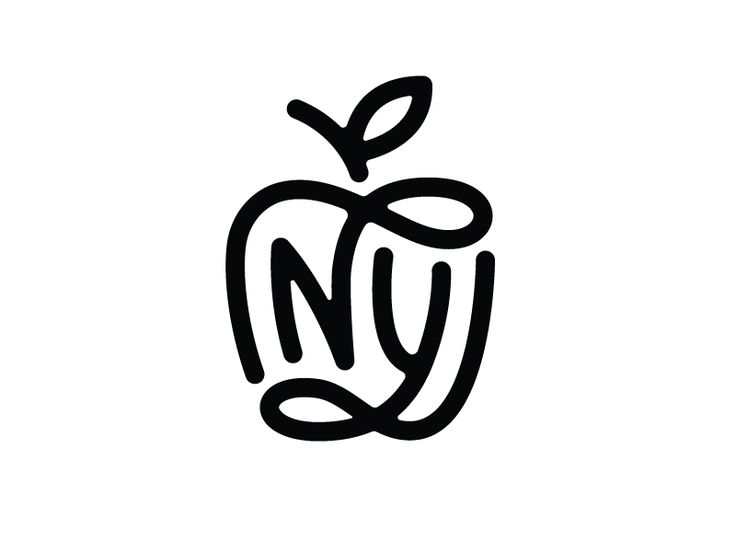 NY - Logo Design - Monogram, Logomark, N, Y, New York, Big Apple, Apple, Fruit, Line, Clever, Black