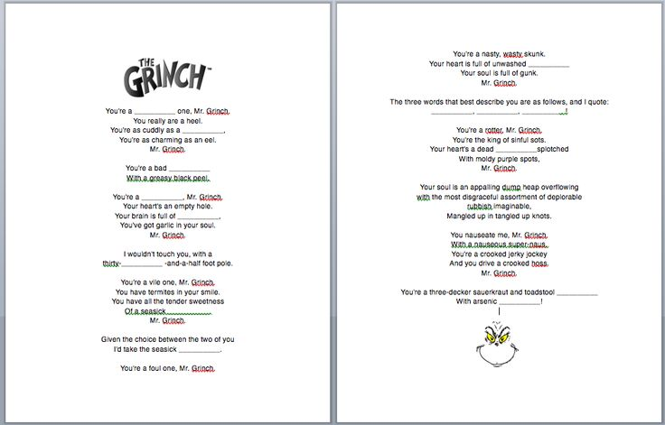 grinch christmas song fill in the blanks worksheet esl this would - Grinch Christmas Song
