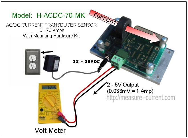 Low Cost Dc Current Sensor 70 Amps Hall Effect Transducer