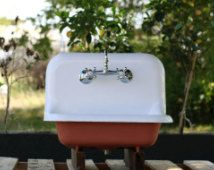 1926 Small Farm Sink Red Earth High Back Cast Iron Farmhouse Sink Refinished (24 x 20)