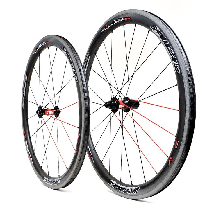Precision handcrafted Zipp 303 Firecrest carbon clincher rims with DT Swiss 240s hubs, black/red DT Swiss aerolite bladed spokes, and black Wheelbuilder.com high-strength alloy nipples. 1487g.