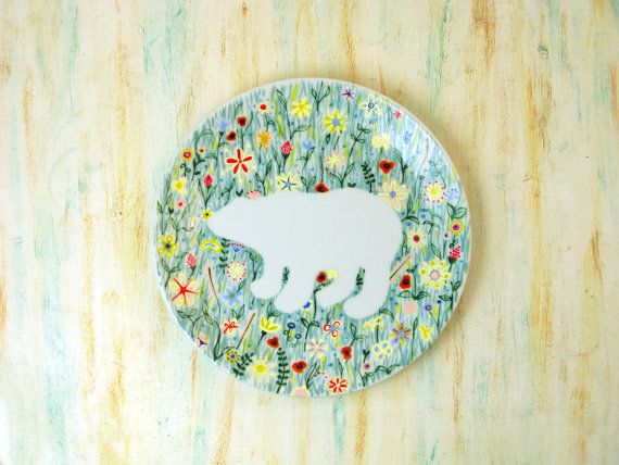 Hand painted porcelain plate  Polar bear in by roootreee on Etsy, £15.00