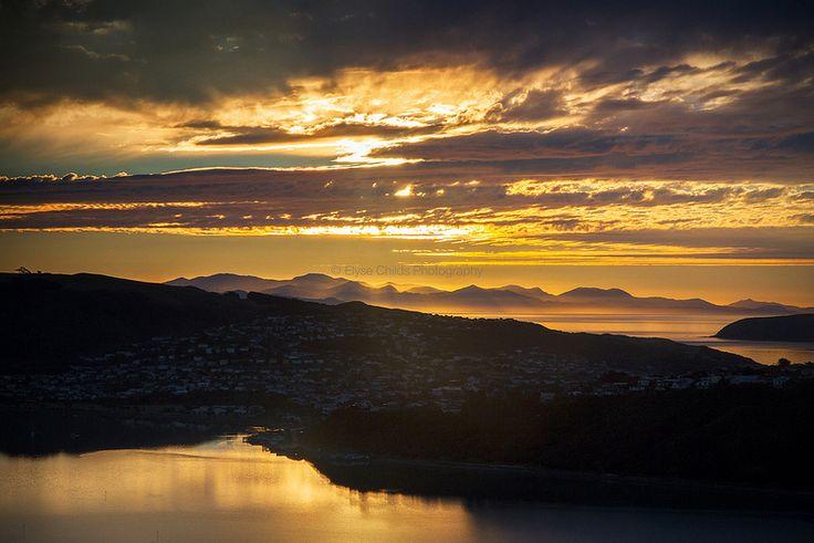 Sunset over Porirua and the South Island of New Zealand | © Elyse Childs Photography.  #gigatownporirua