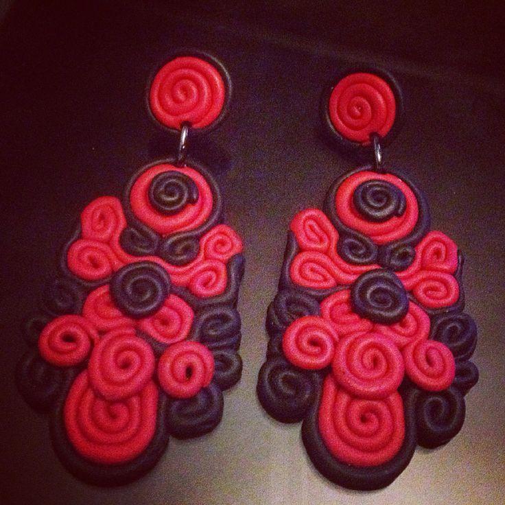 Red black chandelier earrings...by FLERYWOOD