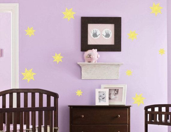 Rapunzel sunburst wall decals! And they glow in the dark!!!!
