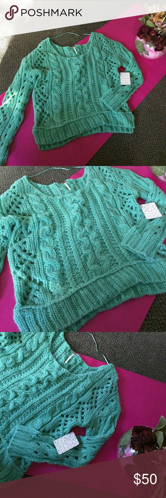 Free people Mint Sweater Great for the winter sweater. Cute and chic. free people  Tops Sweatshirts & Hoodies
