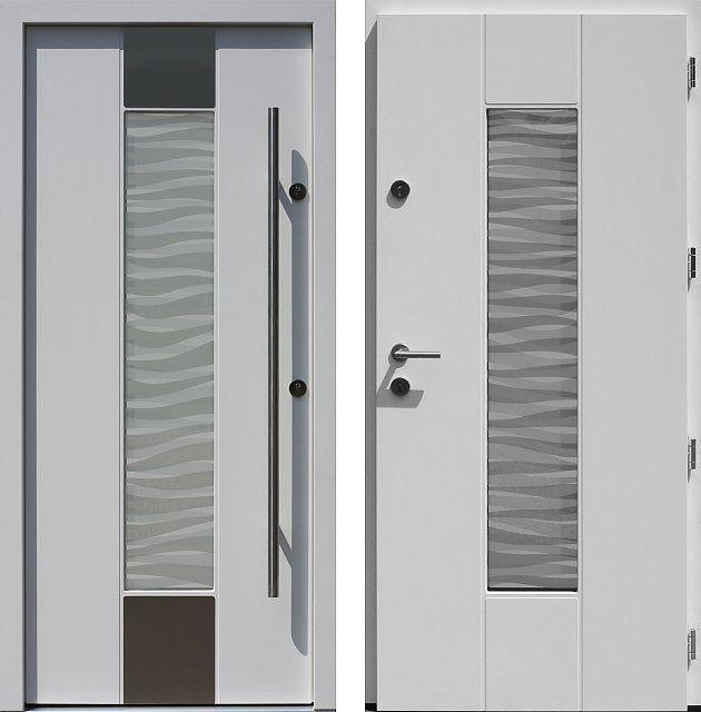Drzwi wejściowe z aplikacjamii ze stali nierdzewnej inox wzór 440,1-440,11+ds3 białe