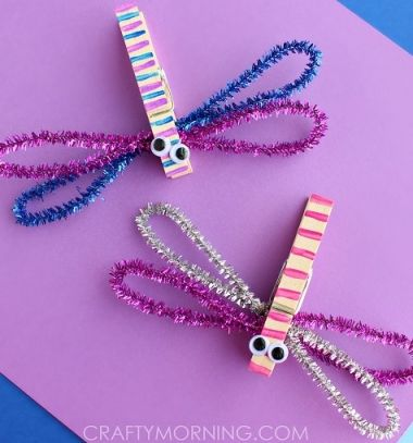 Spring kids craft - clothespin dragonflies / Csipesz szitakötők / Mindy -  creative craft ideas